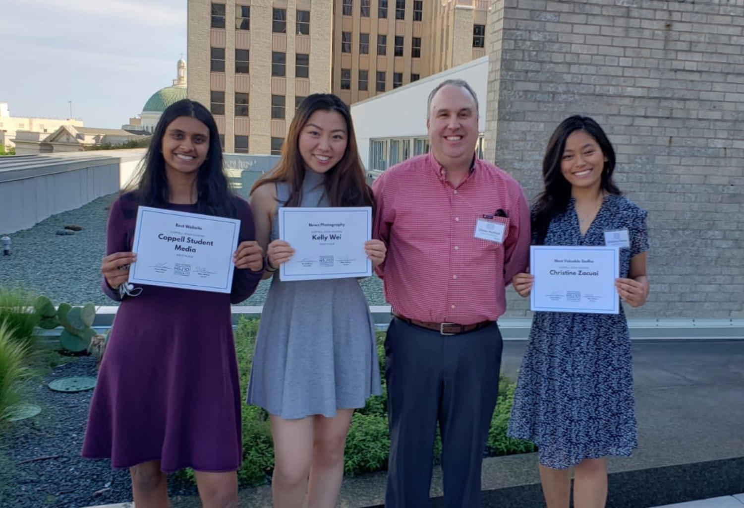 On Thursday, The Sidekick copy editor Pramika Kadari, editor-in-chief Kelly Wei, adviser Chase Wofford and executive news editor Christine Zacuai represented the program at The Dallas Morning News at the 28th annual The Dallas Morning News High School Journalism Day. The event allowed students across North Texas to win awards and gain recognition for their work.