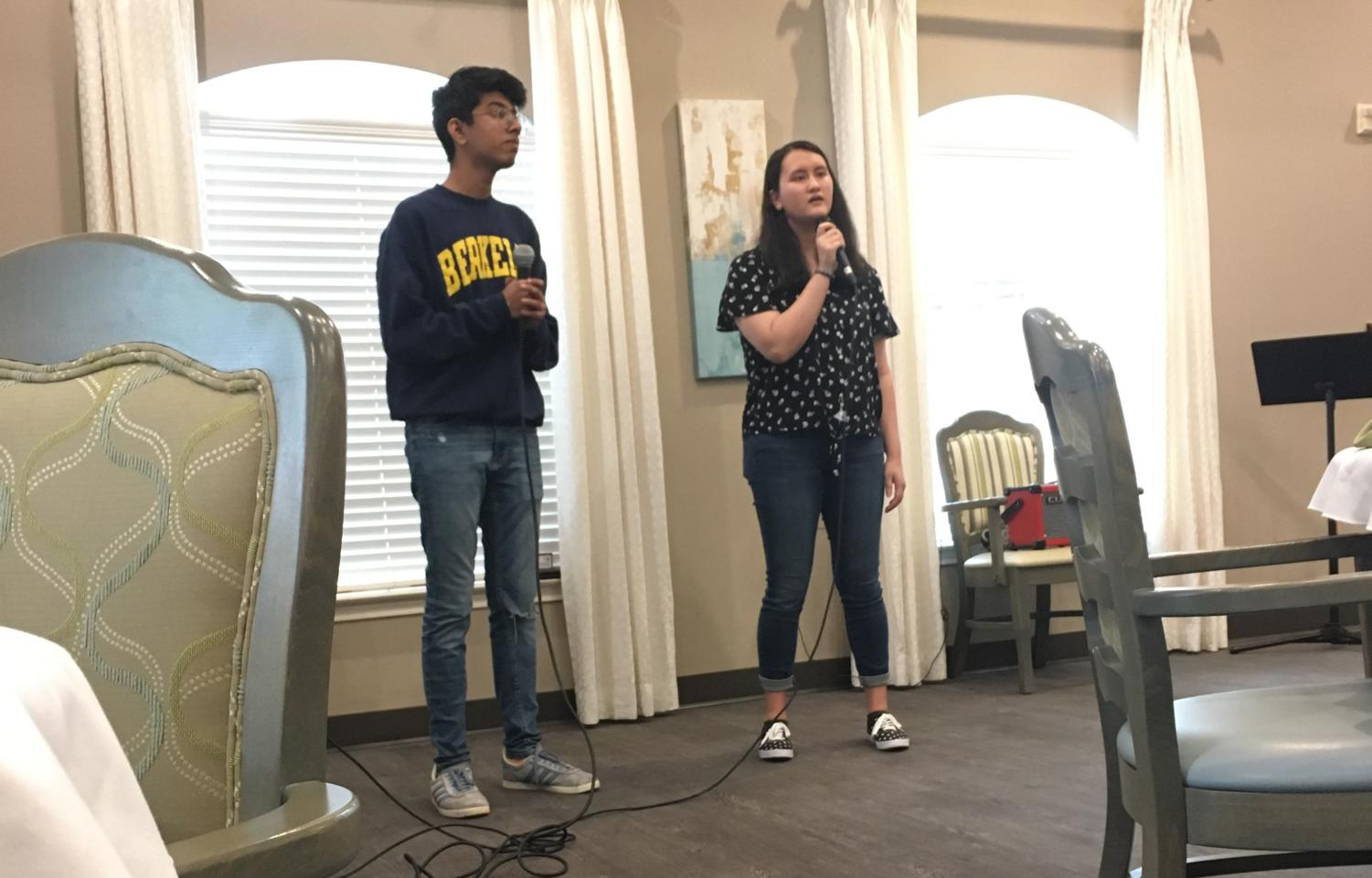"On April 7, juniors Eva Theel and Shreyas Rajagopal sing ""Best Part"" by HER and Daniel Caesar at St. Joseph's Senior Home for Encore Talent Group. Rohil Verma and Alec Klem created a website for the group and hope to create a network of venues and performers."