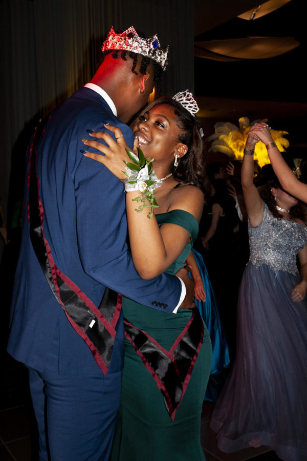 Coppell High School 2019 Prom King and Queen Taj Gregory and Jade Walker  share a dance after the coronation. CHS Prom 2019 was held at AT&T Stadium in Arlington on Saturday, as students danced, enjoyed snacks and played mock casino games during the dance.