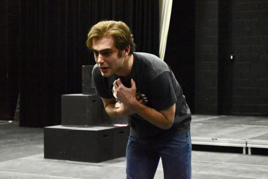 Coppell+High+School+senior+Austin+Tapler+expresses+emotion+through+his+monologue+in+the+Black+Box+on+March+22.+Tapler+is+going+to+nationals+for+dramatic+interpretation+and+is+the+only+CHS+dramatic+interper+to+advance+to+nationals+after+he+and+senior+Barrett+Engler+competed+in+the+district+tournament+earlier+in+March.+The+national+competition+is+in+Dallas+in+June.