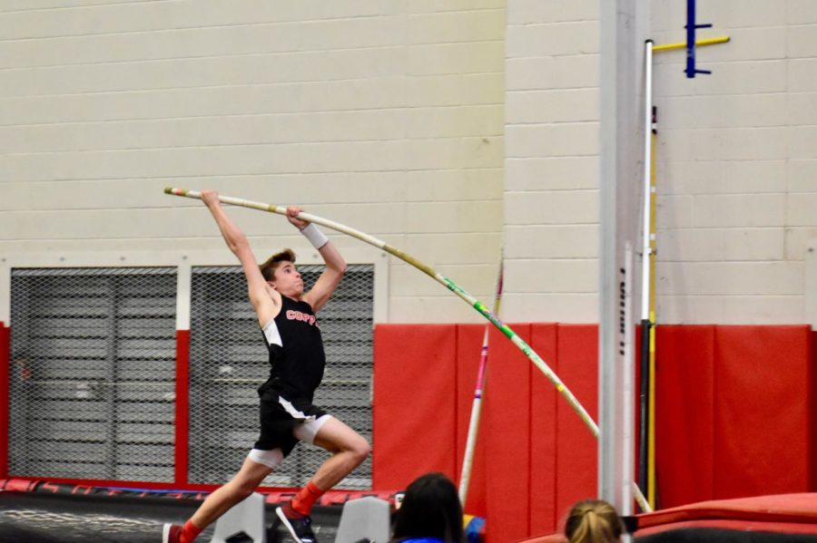 Coppell+freshman+Michael+Nance+competes+in+pole+vault+at+the+Coppell+Relays+meet+at+Coppell+High+School+on+March+2.+Tonight+and+tomorrow%2C+the+Coppell+track+team+is+competing+in+the+Class+6-6A+District+meet.