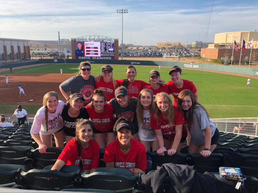 Coppell senior center fielder Kaitlyn O'Quinn (second row far right)  spends time with her softball teammates at a Texas A&M softball game in February. O'Quinn has played softball since the age 7 and is well-known for her leadership on the team. Photo courtesy Kaitlyn O'Quinn.