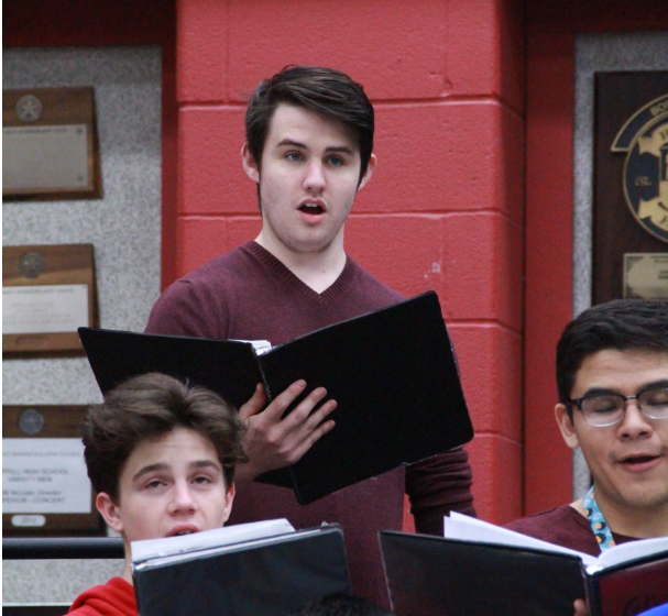 Coppell+High+School+senior+Evan+Barnes+prepares+to+compete+at+UIL+with+his+choir.+Barnes+is+a+tenor+in+the+CHS+Madrigals+and+A+Capella+choir.+%0A