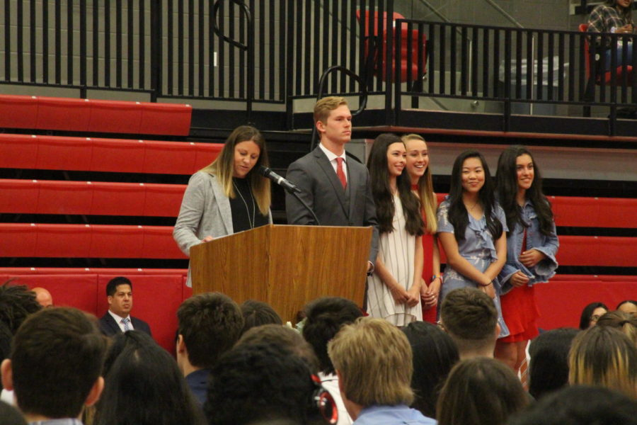 Coppell+High+School+Principal+Dr+Nicole+Jund+recognizes+the+senior+Student+Council+officers+at+the+class+of+2019+senior+awards+in+the+CHS+arena.+Yesterday%2C+CHS+students%2C+faculty+and+parents+were+invited+to+congratulate+this+year%27s+seniors+for+earning+awards+and+scholarships.+