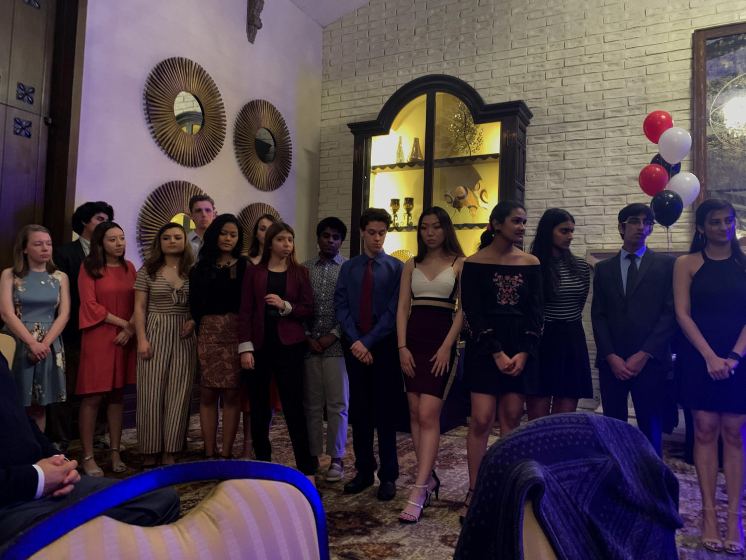 A+group+of+The+Sidekick+staffers+line+up+to+be+inducted+into+Quill+and+Scroll+Honor+Society+for+High+School+Journalists+at+the+2019+Sidekick+Newspaper+Awards+Dinner+at+Las+Colinas+Country+Club+on+Thursday.++The+Sidekick+banquet+is+an+event+for+staff+members+and+their+guests+to+look+back+on+memories+from+this+past+year+and+congratulate+their+peers+who+won+awards.++