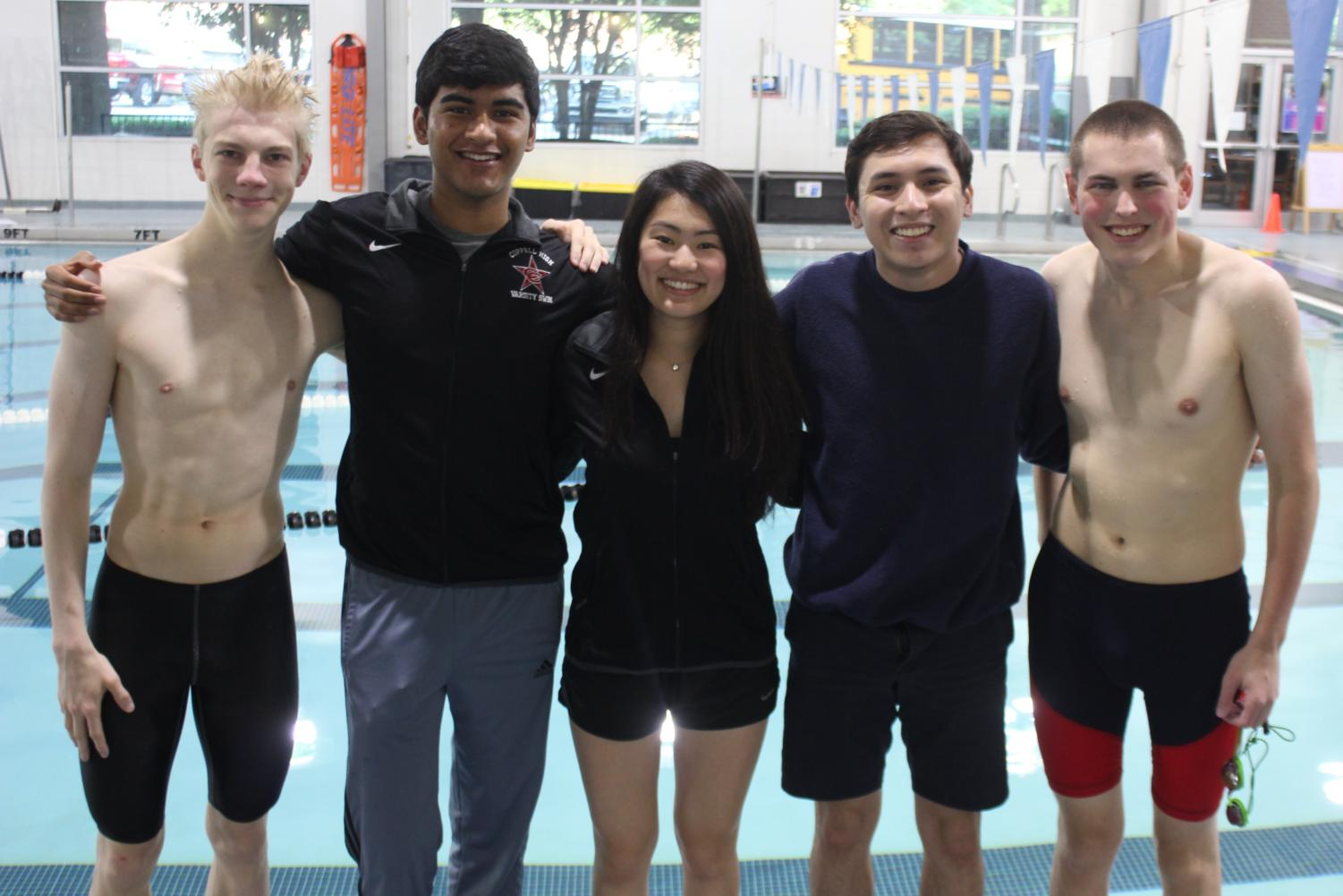 Coppell seniors Yue Taira, Emil Aaltonen, Matthew Rodman, Elieser Gonzalez and Rithvik Gunda make up the last class of swimmers to have experienced both former coach Rick Whittlesey and current coach Marieke Mastebroek. From four years of swimming, each senior has collected memories and developed relationships they will remember even after they graduate.