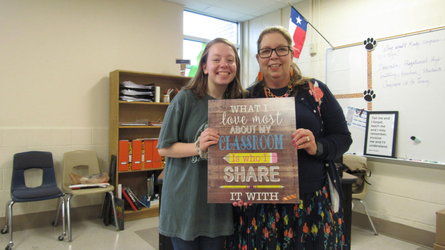 The Sidekick editorial page editor Claire Clements and her mom, April Clements, bond in her classroom at Travis Middle School in Irving. Coming from a family of teachers has shaped Claire's perspective on the teachers she's had in school.