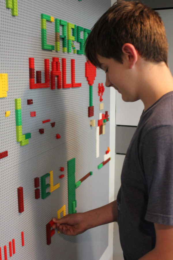 Coppell Middle School West honors former student Carson Dyke, who died in 2017, with a Carson's Wall of legos, celebrating Dyke's favorite toy. This wall is located in the CMS West Library and is available for students to build on.