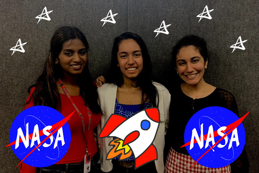 Coppell+High+School+juniors+Suprita+Ashok%2C+Aditi+Mutagi+and+Akansha+Singh+qualified+for+a+learning+experience+this+summer+at+NASA%E2%80%99s+Johnson+Space+Center.+These+students%2C+along+with+four+others%2C+were+nominated+for+the+program+for+their+intelligence+in+math%2C+engineering%2C+science+and+computer+science.+Photo+illustration+by+Olivia+Palmer+and+Lilly+Gorman.