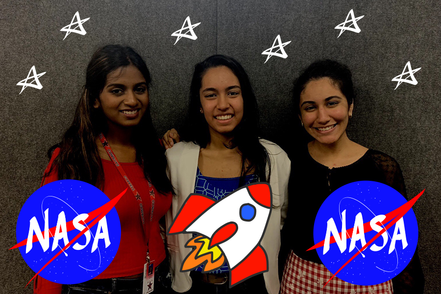 Coppell High School juniors Suprita Ashok, Aditi Mutagi and Akansha Singh qualified for a learning experience this summer at NASA's Johnson Space Center. These students, along with four others, were nominated for the program for their intelligence in math, engineering, science and computer science. Photo illustration by Olivia Palmer and Lilly Gorman.