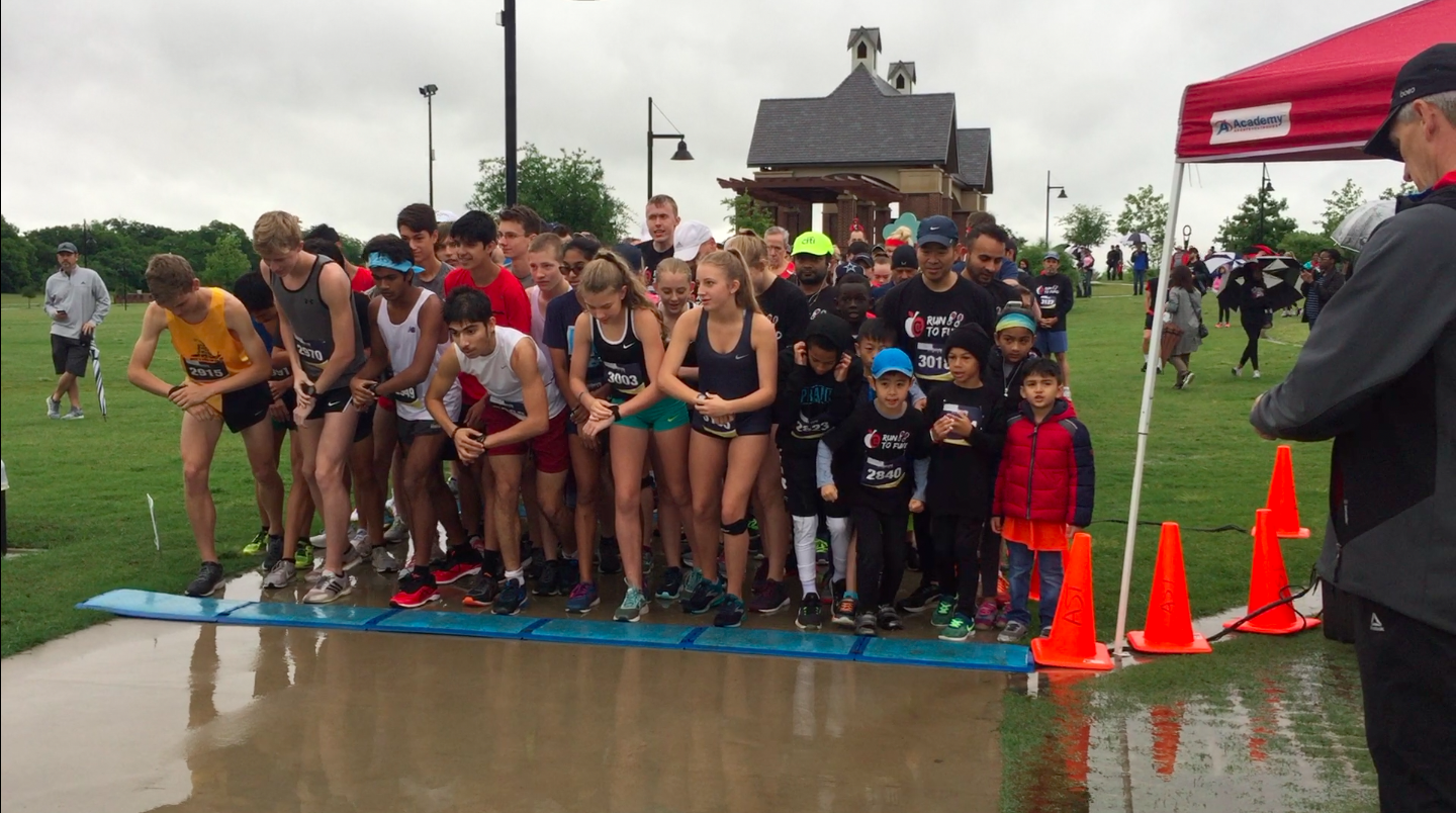 Two hundred fifteen runners completed the annual 5K Run to Fund on Saturday at Andy Brown East after a rain delay. The run is a fundraiser for Coppell ISD's physical education department.