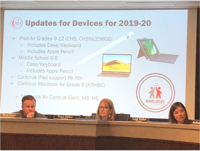 On April 29, the Coppell ISD Board of Trustees looks over the proposed technology plan for next year. Students in grades 9-12 will receive iPads Airs, along with an attachable keyboard and an Apple pen. Students in grades 6-8 will also receive the keyboards and Apple Pens, but not the iPad Airs.