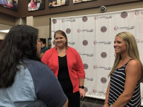 New Coppell Middle School West Principal Sarah Thornton is congratulated for her new position by 7th grade science teacher Elsa Butler and 6th grade science teacher Gena Erdman. Thornton was officially approved by the CISD Board of Trustees on Monday.