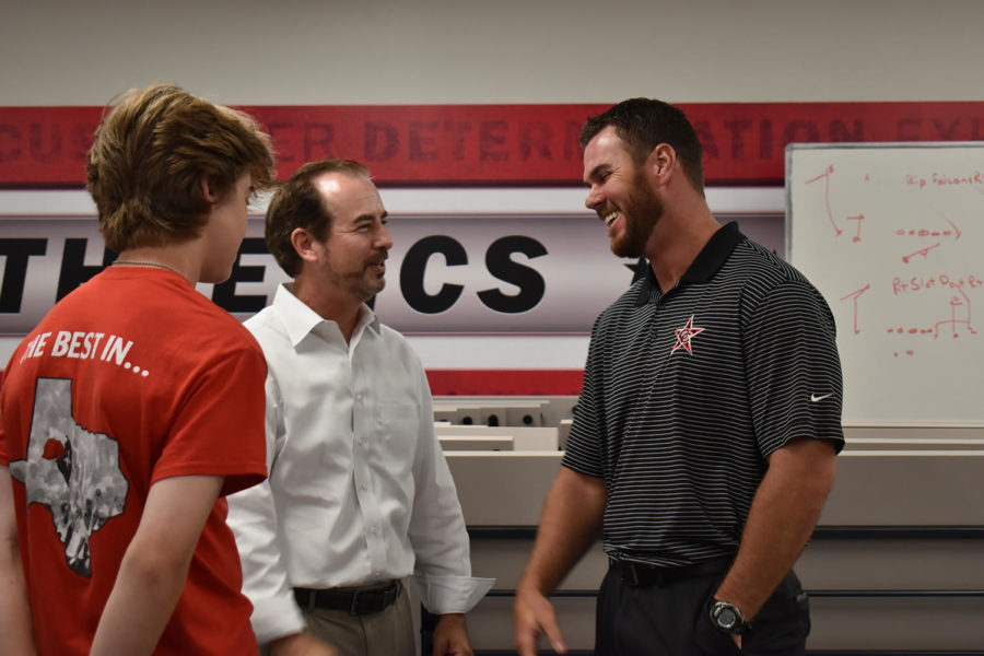 New Coppell head baseball coach Ryan Howard meets with players and parents on July 1 in the CHS fieldhouse. Howard previously worked at Lake Dallas High School for three years as head coach.