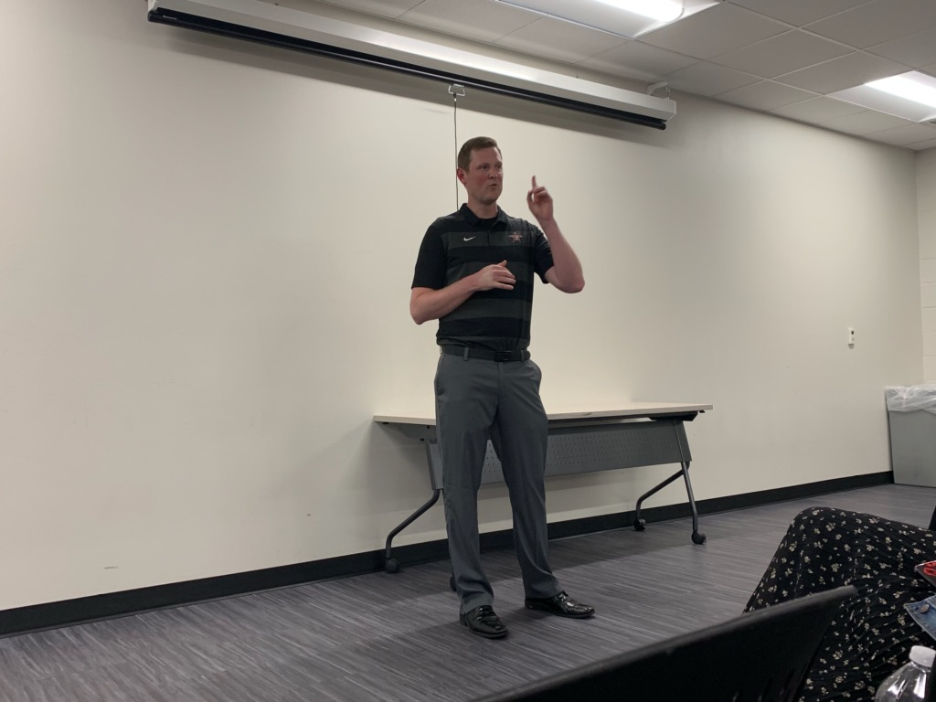 New Coppell girls basketball coach Ryan Murphy introduces himself to his future players and parents at the Coppell High School Field House on July 2. Murphy talks about his previous experiences in coaching and what his players will be doing this upcoming school year.
