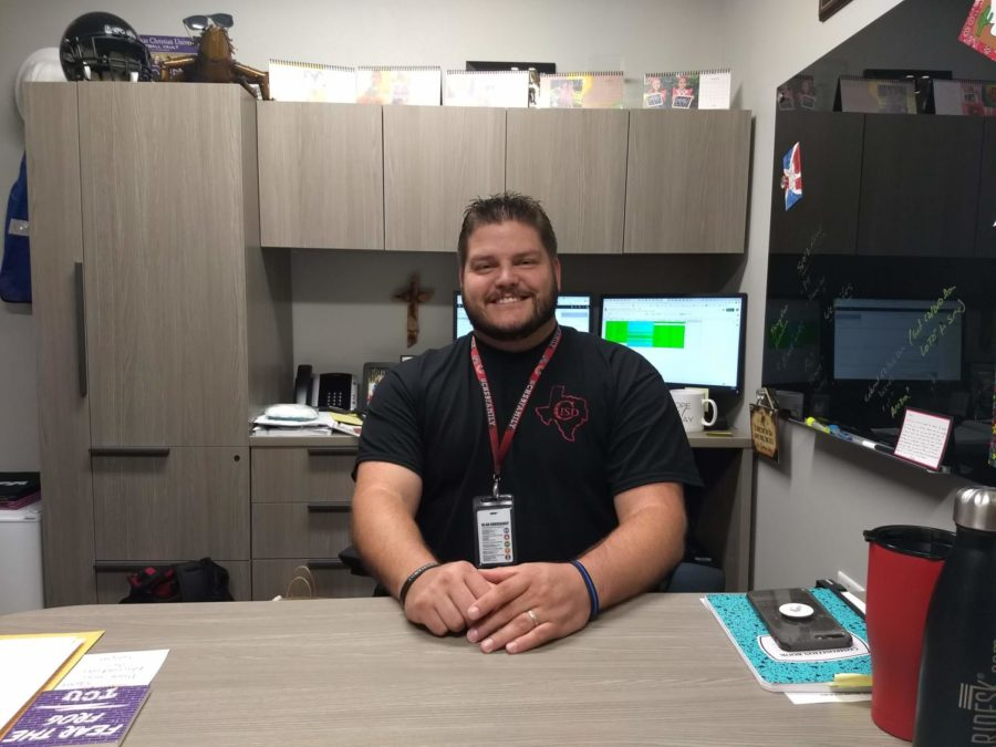 CHS9 Principal Cody Koontz talks to The Sidekick about new developments at the freshmen campus and plans for the coming school year on Aug. 16. Main changes to the campus include the C day schedule and the new Coppell ISD technology plan.