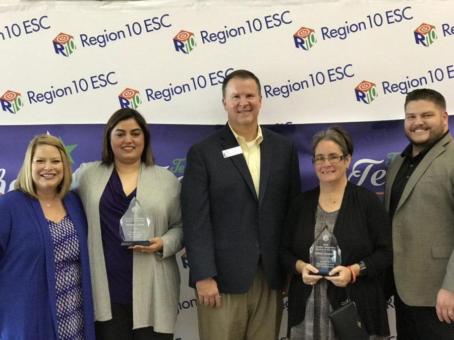 Fifth grade Lee Elementary teacher Samira Khan and CHS9 biology teacher Cathy Douglas receive the titles of elementary and secondary Region 10 finalists at an event at Southfork Ranch on Aug. 1. Khan and Douglas stand with their respective principals, Lee Elementary Principal Chantel Kastrounis and CHS9 Principal Cody Koontz, as well as CISD Superintendent Brad Hunt.