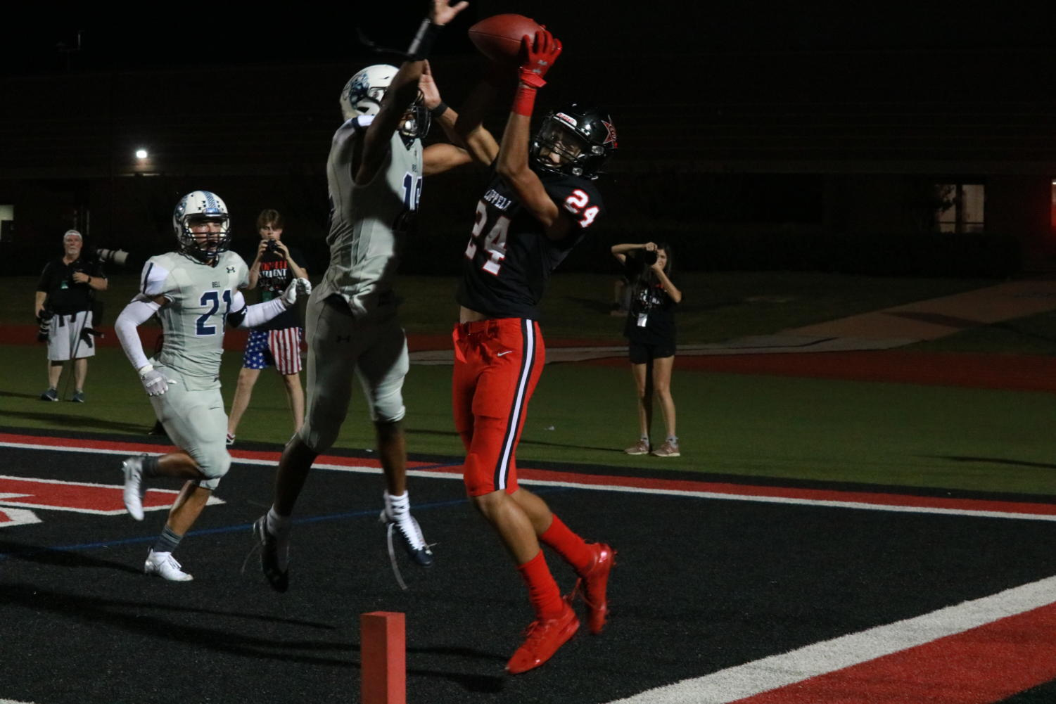 Coppell sophomore wide receiver Anthony Black attempts to make a catch in the endzone. The Cowboys won their first home game of the season, 17-10, against L.D. Bell on Friday night at Buddy Echols Field.