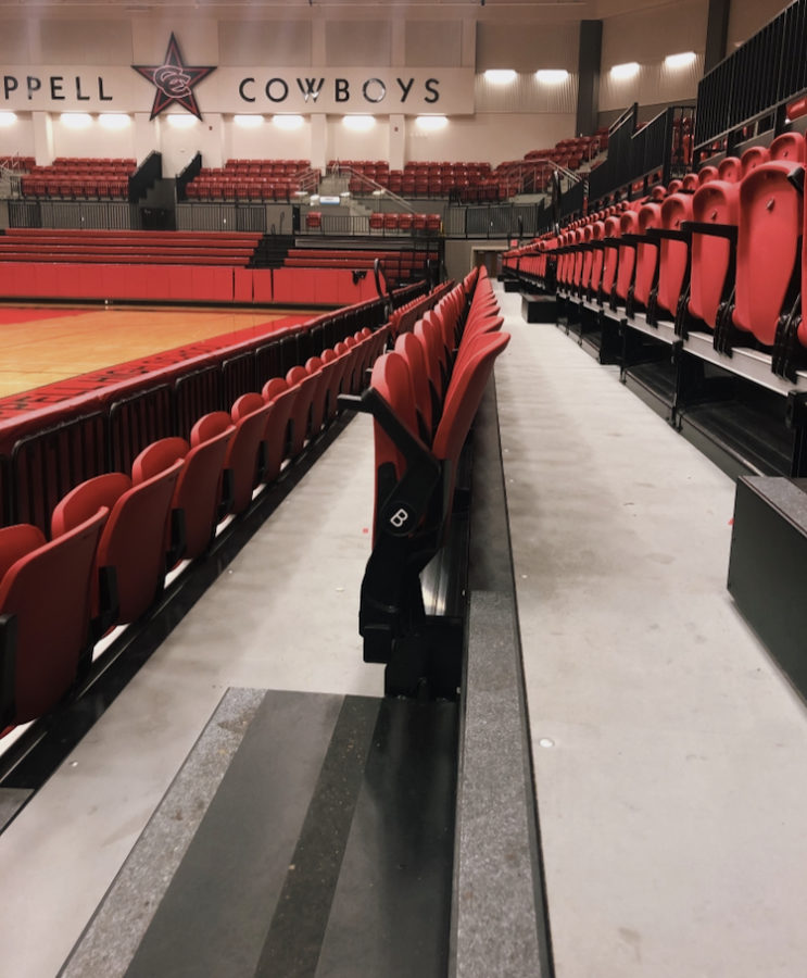 The Coppell High School Arena has a seating capacity of approximately 2,400, making it large enough to host the entire student body. Several different events take place in the arena from basketball games to pep rallies.