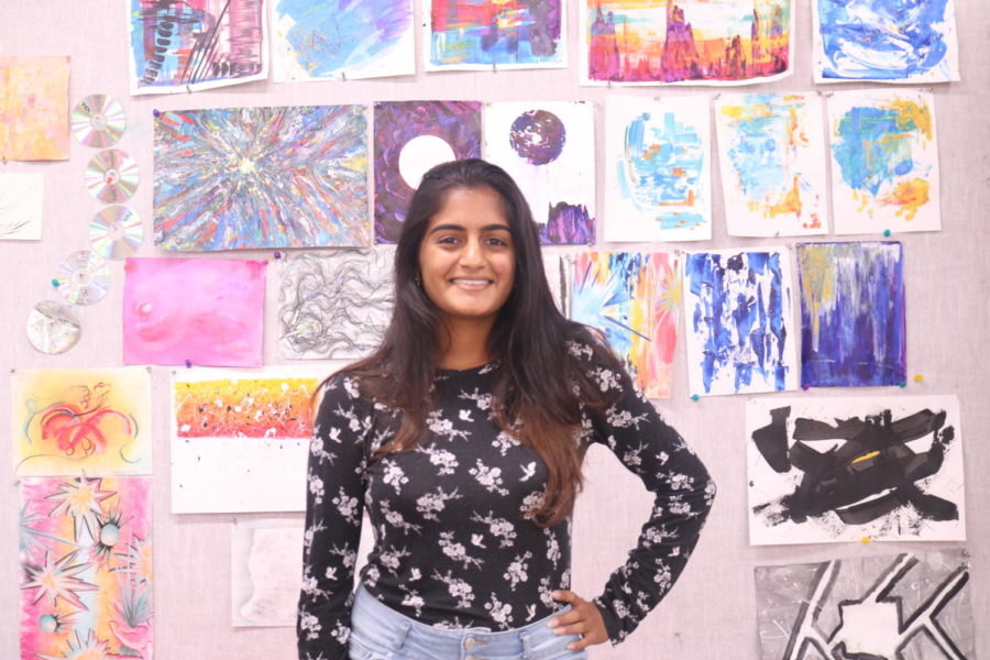 Coppell High School senior Smrithi Venkatraman talks about upcoming events to National Art Honor Society members on Thursday after school in E105. Venkatraman is the president of NAHS for the 2019-20 school year.