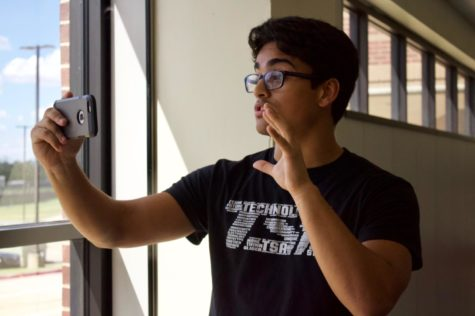 Coppell High School senior Ram Castro records a draft introduction about gun control for his Easy Politics channel during eighth period on Sept. 17. Castro has been creating videos for his Easy Politics YouTube channel and Instagram page @easypoliticsusa.