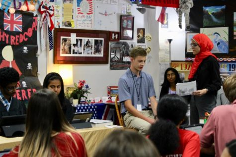 Coppell High School students in AP United States History teacher Diane de Waal's class conduct their annual mock trial. Students are given roles to recreate the Boston Massacre trial to determine what happened that day