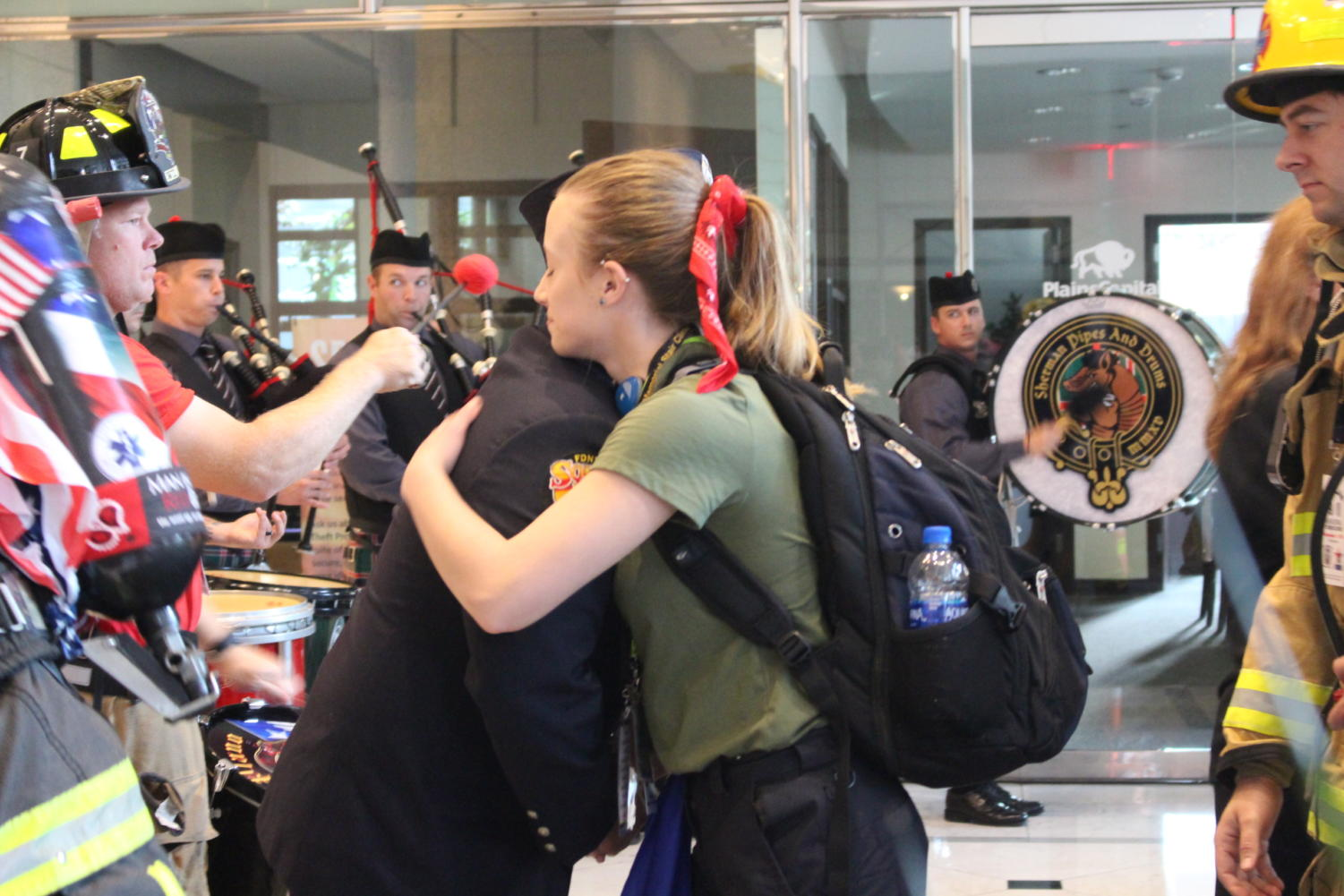 First responders from all over Texas and the U.S. get ready to start their climb for the Dallas 9/11 Memorial Stair Climb at the Renaissance Tower in Dallas. First responders climbed 110 flights of stairs on Saturday to remember those who died resulting from the Sept. 11, 2001 attacks in New York.