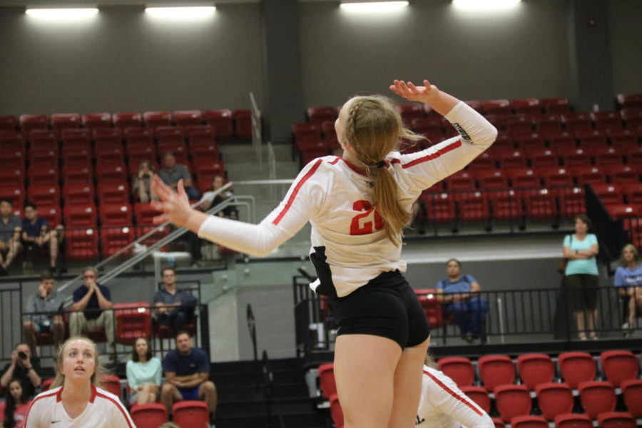 Coppell freshman Reagan Engler spikes during the match against Arlington Martin on Aug. 27 in the CHS Arena. The Cowgirls face Grapevine tomorrow at 6:30 p.m. at the CHS Arena in their final preseason match.
