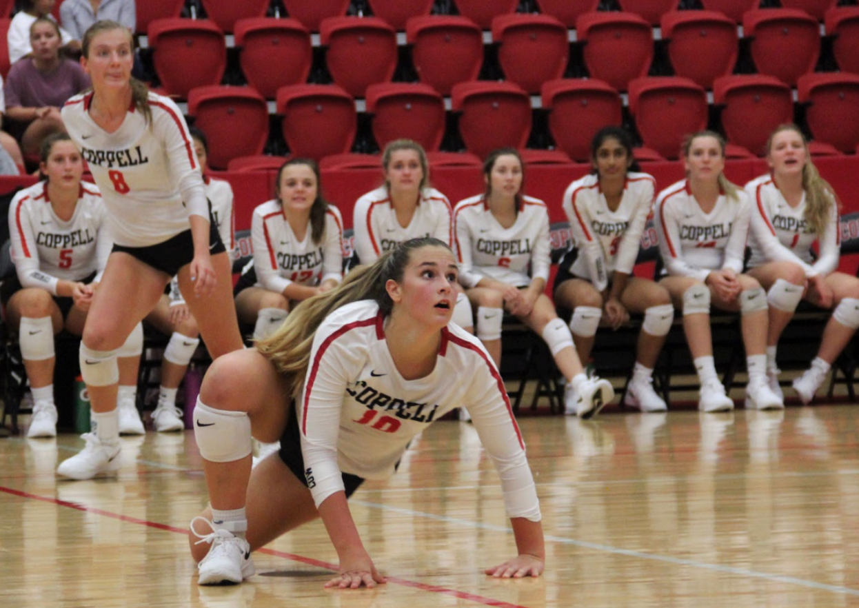 Coppell senior setter Kinsey Bailey rises after diving against Arlington Martin on Aug. 27 at the CHS Arena. Bailey was diagnosed with inappropriate sinus tachycardia (IST) three years ago, a heart condition that occurs when the heart beats very quickly without reason.