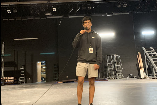 Coppell High School junior Sid Sabhnani rehearses his speech for Coppell High School's first TEDxYouth Talk in the auditorium. The TEDxYouth Talk will be held in the CHS auditorium at 5:30 p.m. on Wednesday. Photo by Akif Abidi
