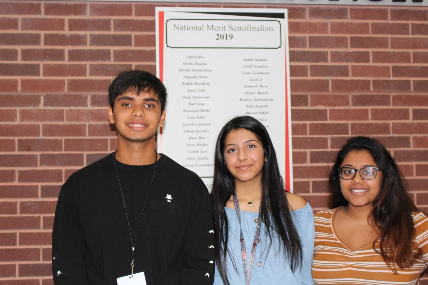 Coppell High School seniors Mihir Ranjan, Sonali Chaturvedi and Reina Raj were announced as National Semifinalists on Sept. 25 along with 32 other CHS students. National Semifinalists are students who scored in the top 1% on the PSAT, and they are granted the opportunity to compete for scholarships to colleges.