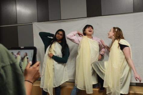 Coppell High School seniors Keerthi Durairaj, Penelope Gummelt and Katherine Hollen recreate the ancient sculpture,
