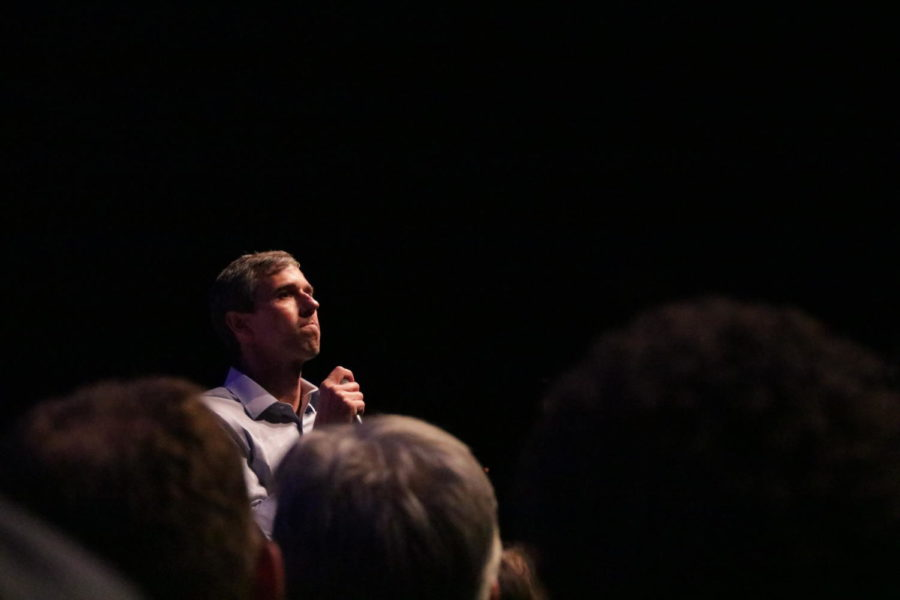 "Democratic Presidential candidate Beto O'Rourke speaks to the audience about gun reform, immmigration issues, climate change and healthcare. On Thursday, O'Rourke held a counter rally at The Theatre at Grand Prairie themed ""Rally against Hate."""