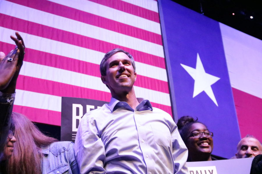 "Democratic Presidential Candidate Beto O'Rourke looks into the audience cheering for him after his speech addressing immigration issues, gun reform, climate change and healthcare. Beto O'Rourke held his rally at The Theatre at Grand Prairie on Thursday as a counter rally themed ""Rally Against Hate."""