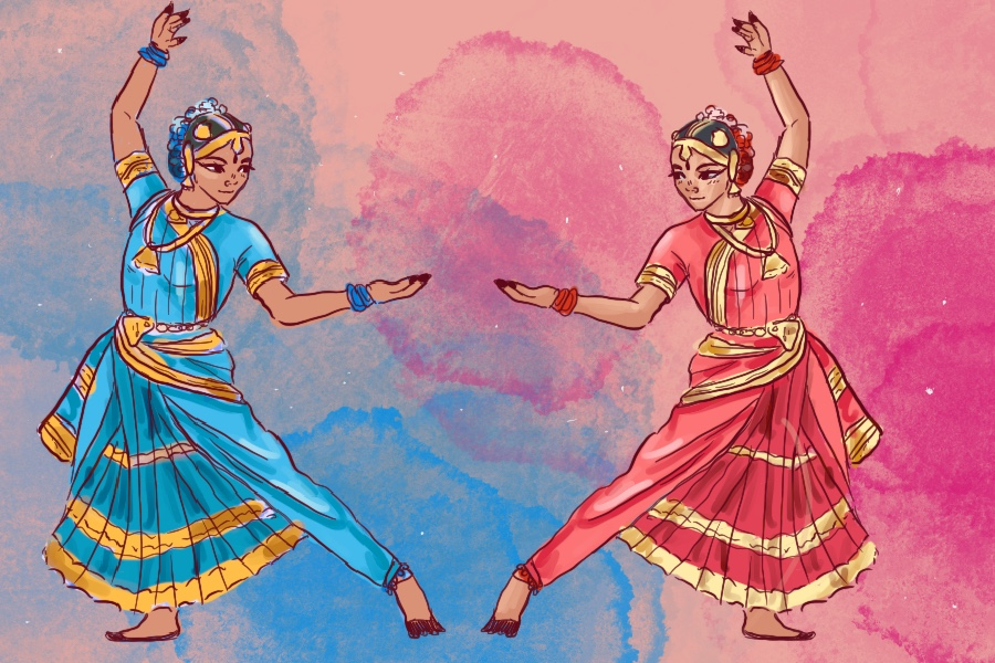 Natya Nivedanam is an Indian dance event that features dance schools in the Dallas-Fort Worth area. A Bhartanatyam dancer wears a four piece dress set that includes a salwaar with joint fan, blouse, chunni and hips.