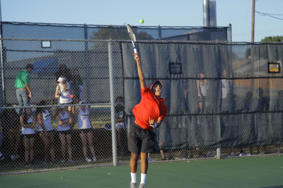 Coppell High School senior Elias Dias volleys to his opponent. Coppell lost to Carroll, 10-8, in the Class 6A Region I quarterfinals at Grapevine on Monday.