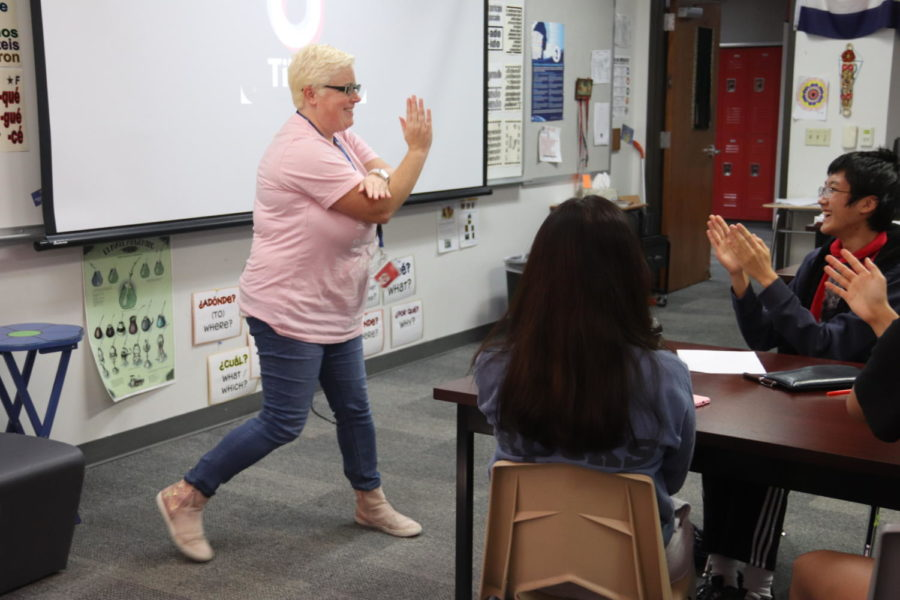 Coppell High School IB Spanish teacher Emily McCoy engages students by teaching them one of the dances from the popular social media video app, TikTok. This is McCoy's 15th year teaching Spanish and 10th year teaching at CHS.