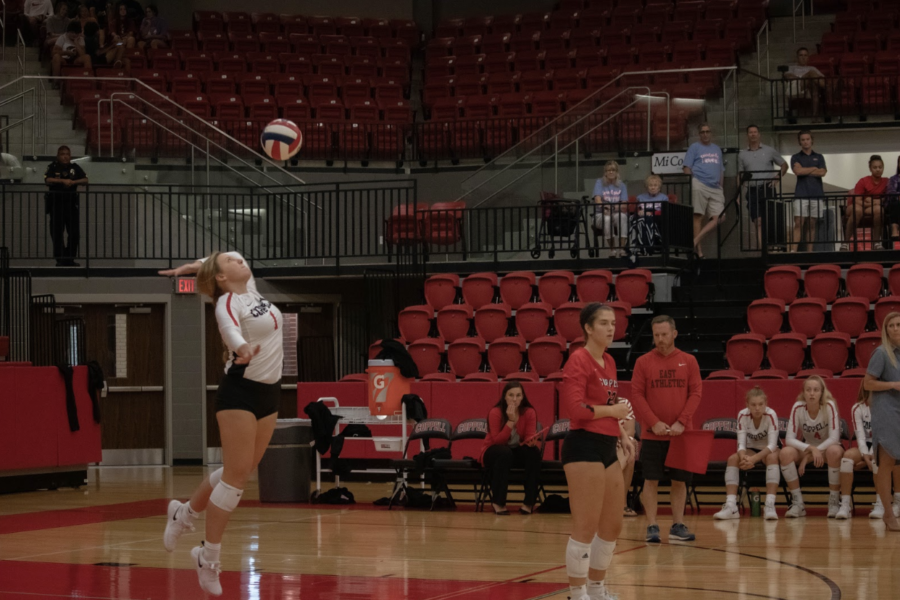 Coppell+senior+defensive+specialist+Victoria+Wiegand+serves+against+Irving+Nimitz+in+the+CHS+Arena+on+Sept.+13.+The+Cowgirls+face+Flower+Mound+in+the+CHS+Arena+tonight+at+6%3A30+p.m.+