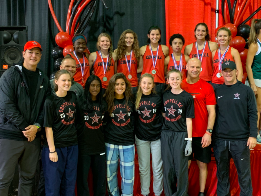 The Coppell girls cross country team qualifies for the Class 6A state championship meet in Round Rock on Nov. 9 after placing second at the Class 6A Region I meet in Lubbock on Monday. The Cowgirls will be defending their state championship title after winning last year. Photo courtesy Nicole Jund.