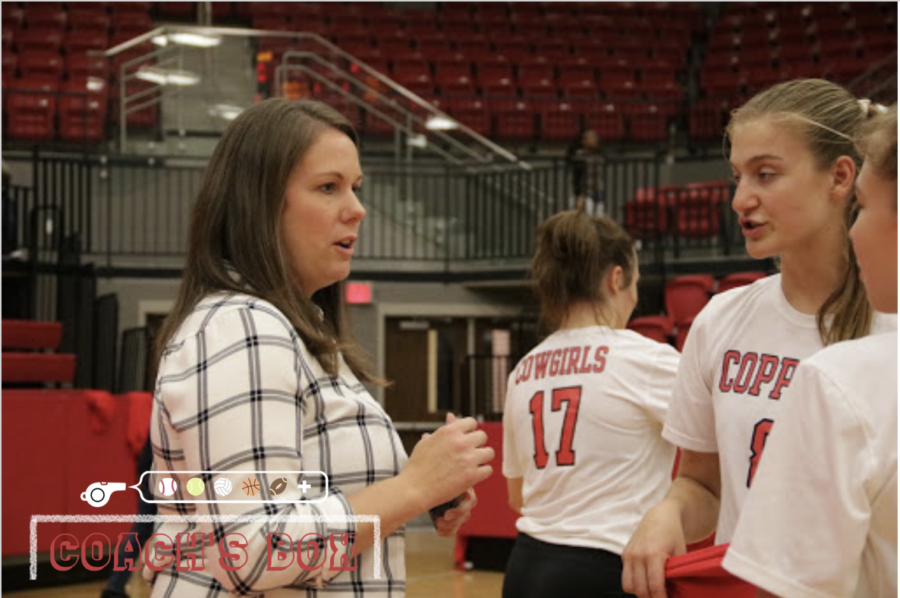 Coppell volleyball assistant coach Holland Smith talks with sophomore outside hitter and right side hitter Haley Holz and defensive specialist Beca Centeno after the District 6-6A volleyball match against Irving on Friday in the CHS Arena. Smith has been coaching volleyball in Coppell for three years.