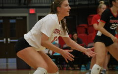 Coppell sophomore outside hitter Haley Holz awaits a serve during the match against Marcus in the CHS Arena on Sept. 24. The Cowgirls face Hebron in the CHS Arena at 6:30 p.m. tonight.