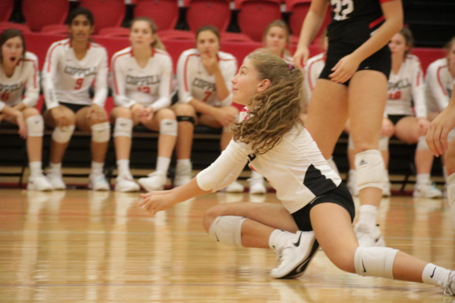 Coppell+sophomore+defensive+specialist+Beca+Centeno+dives+in+a+match+against+Hebron+in+the+CHS+Arena+on+Oct.+4.+The+Cowgirls+face+Irving+tonight+in+the+CHS+Arena+at+6%3A30+p.m.