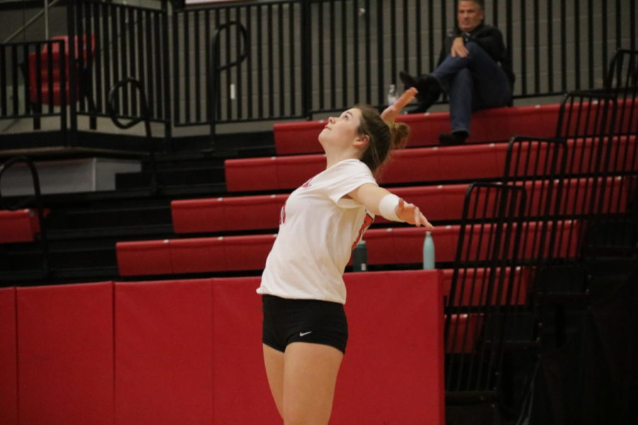 Coppell+senior+defensive+specialist+Isabelle+Bowles+serves+during+the+District+6-6A+match+against+Irving+on+Friday+in+the+CHS+Arena.+The+Cowgirls+defeated+the+Tigers+in+three+sets%2C+25-6%2C+25-3%2C+25-9.