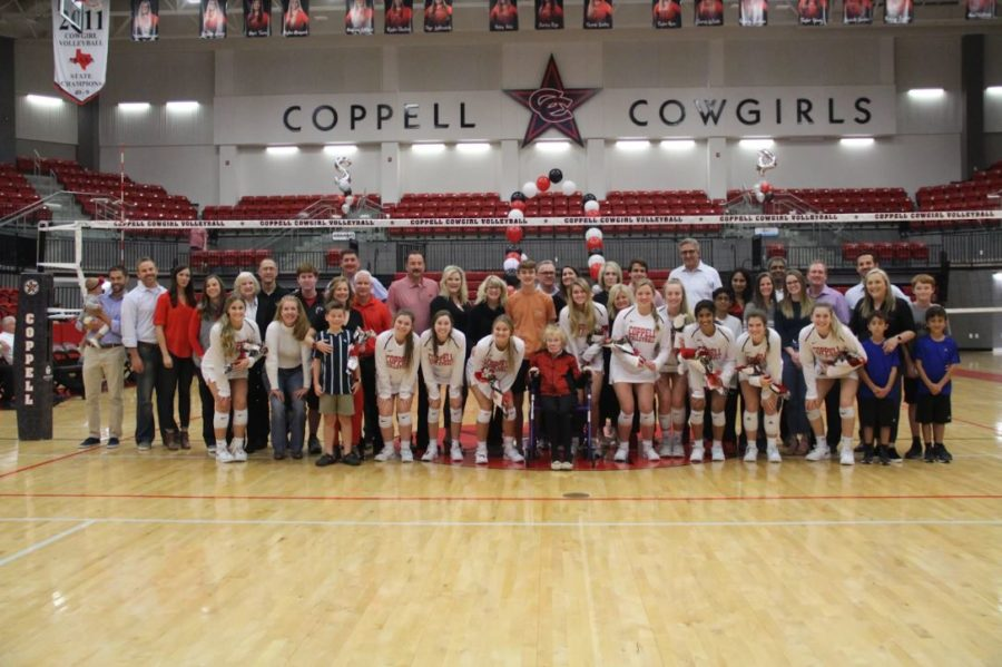 Coppell seniors and their family members commemorate their achievements as Coppell High School volleyball players on senior night in the CHS Arena on Tuesday. Coppell defeated MacArthur, 3-0, and plays Irving tonight at home.