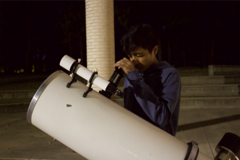 Astronomy students zoom in on full moon in frosty night sky