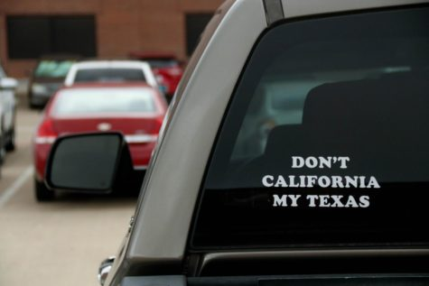 Coppell High School IB teacher Jared Stansel displays his feelings toward the migration of Californians to Texas with a sticker on his truck. Many people have moved in search of better job opportunities and a higher quality of life.