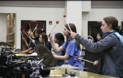 The Coppell High School Drumline team practices marching after school on Nov. 7 in the band room. This Saturday, the team will compete in the Lewisville Drumline Contest 10th annual invitation at Lewisville High School at 2:30 p.m. and the Lone Star Drumline Classic Invitational at Marcus High School at 9 p.m.