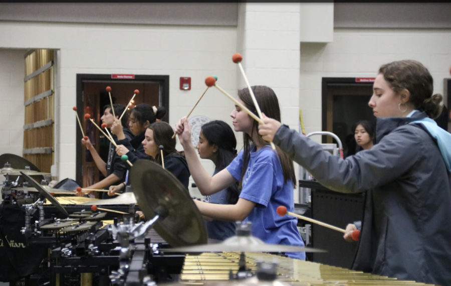 The+Coppell+High+School+Drumline+team+practices+marching+after+school+on+Nov.+7+in+the+band+room.+This+Saturday%2C+the+team+will+compete+in+the+Lewisville+Drumline+Contest+10th+annual+invitation+at+Lewisville+High+School+at+2%3A30+p.m.+and+the+Lone+Star+Drumline+Classic+Invitational+at+Marcus+High+School+at+9+p.m.