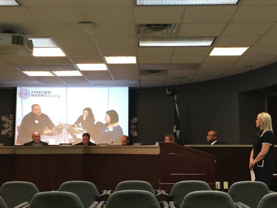 The Strategic Design Advocacy team presents a video during the Coppell ISD board meeting on Monday at the Vonita White Administration Building. The Coppell High School cross country teams and band were also recognized for their achievements.