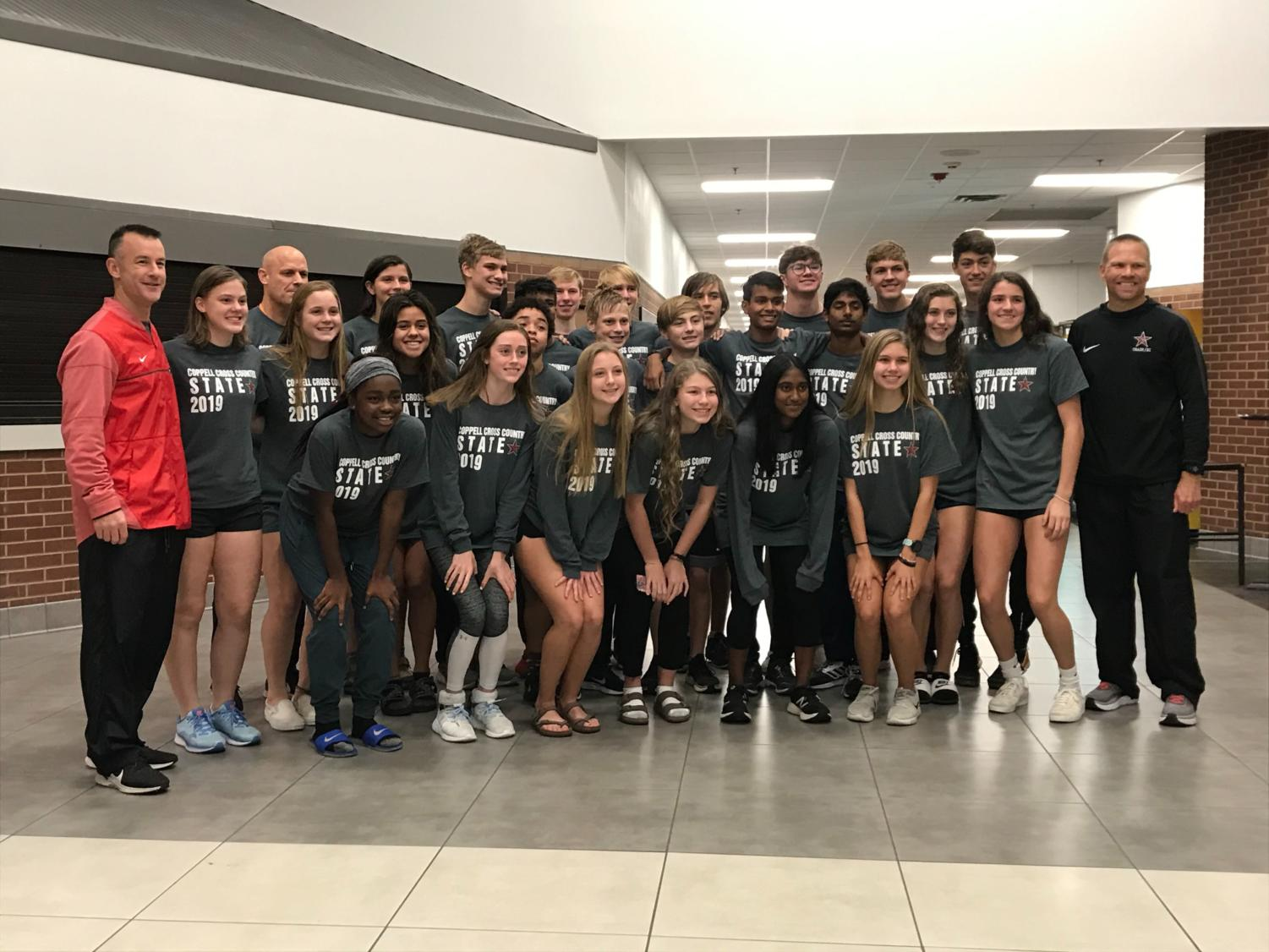 The Coppell cross country team poses for a picture this morning at their send off to the state meet. The girls begin their race on Saturday in Round Rock at 2:30 p.m. and the boys begin their's at 3:15 p.m.